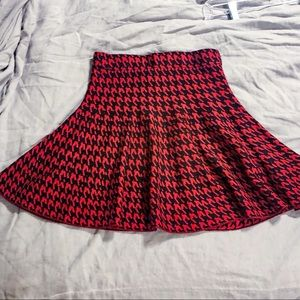 Candies Red/Black Houndstooth Skater Skirt - XS